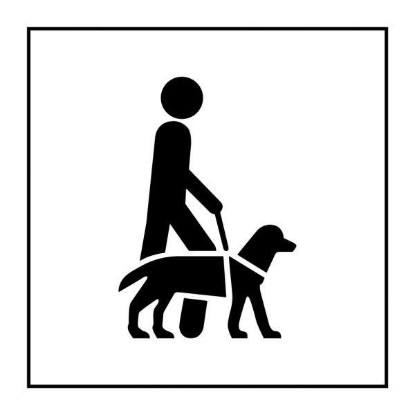 Pictogramme d'Information ISO 7001 Accessibilité, chien de guide ou d'assistance en Gravoply 125 x 125 mm Noir sur Blanc