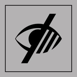 Pictogramme d'Information ISO 7001 Accessibilité, malvoyant en Gravoply 125 x 125 mm Noir sur Blanc