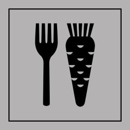 Pictogramme d'Information ISO 7001 Nourriture végétarienne en Gravoply 125 x 125 mm Noir sur Blanc