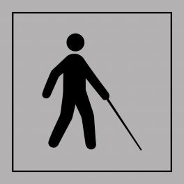 Pictogramme d'Information ISO 7001 Accessibilité, malvoyant ou aveugle en Gravoply 125 x 125 mm Noir sur Blanc