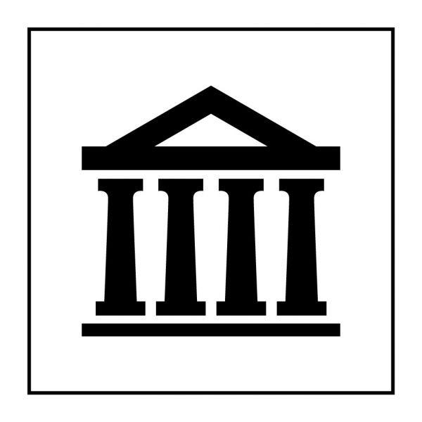 Pictogramme d'Information ISO 7001 Musée en Gravoply 125 x 125 mm Noir sur Blanc