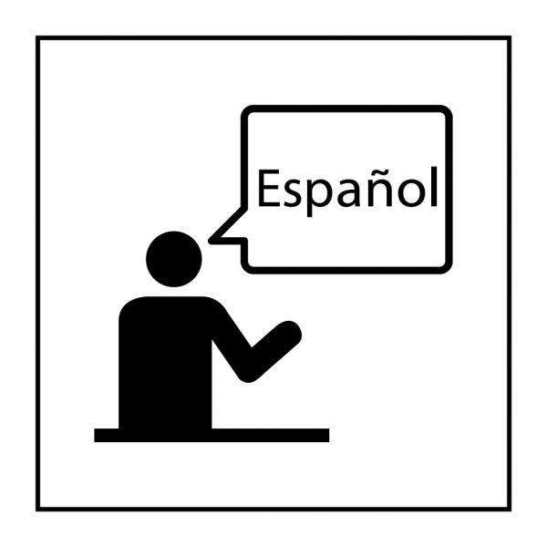 Pictogramme d'Information ISO 7001 Communication dans la langue spécifiée en Gravoply 125 x 125 mm Noir sur Blanc