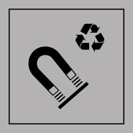 Pictogramme d'Information ISO 7001 Recyclage - acier magnétique en Gravoply 125 x 125 mm Noir sur Blanc