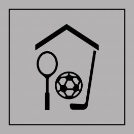 Pictogramme d'Information ISO 7001 Gymnase/Salle de sport en Gravoply 125 x 125 mm Noir sur Blanc