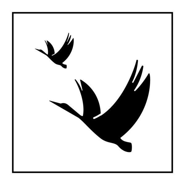 Pictogramme d'Information ISO 7001 Réserve ornithologique en Gravoply 125 x 125 mm Noir sur Blanc
