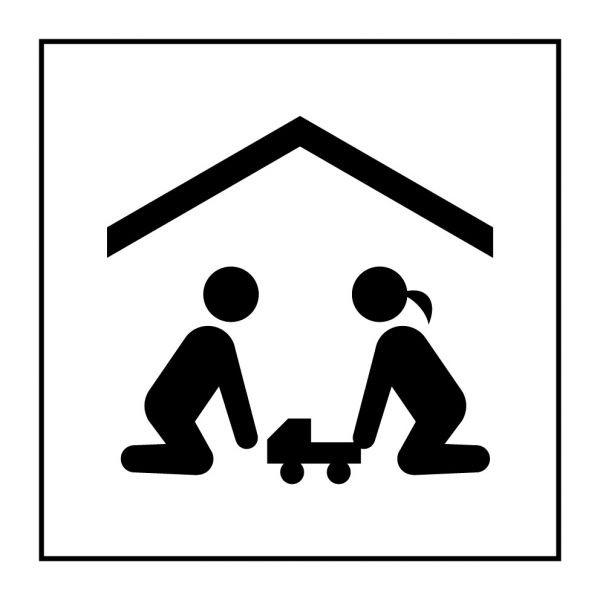 Pictogramme d'Information ISO 7001 Salle de jeux pour enfants en Gravoply 125 x 125 mm Noir sur Blanc