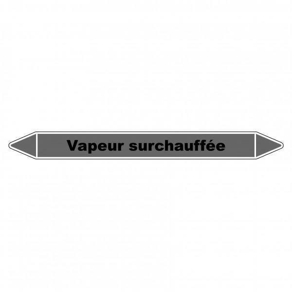 """Marqueur de Tuyauterie """"Vapeur surchauffée"""" en Vinyle Laminé"""