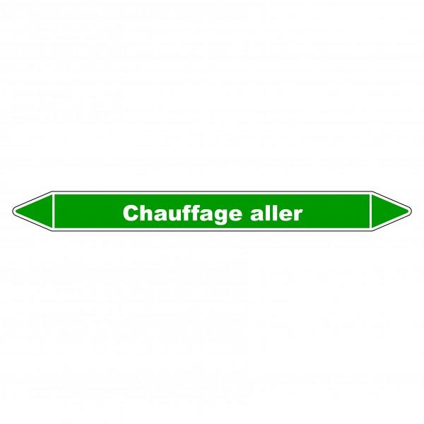 """Marqueur de Tuyauterie """"Chauffage aller"""" en Vinyle Laminé"""