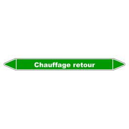 """Marqueur de Tuyauterie """"Chauffage retour"""" en Vinyle Laminé"""