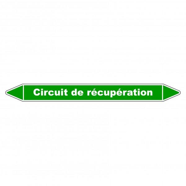 """Marqueur de Tuyauterie """"Circuit de récupération"""" en Vinyle Laminé"""