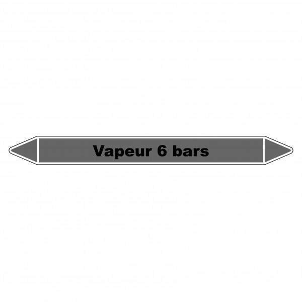 """Marqueur de Tuyauterie """"Vapeur 6 bars"""" en Vinyle Laminé"""