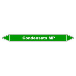 """Marqueur de Tuyauterie """"Condensats MP"""" en Vinyle Laminé"""