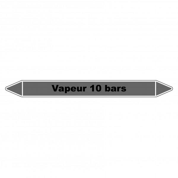 """Marqueur de Tuyauterie """"Vapeur 10 bars"""" en Vinyle Laminé"""