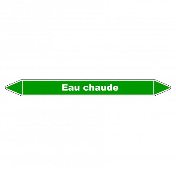 """Marqueur de Tuyauterie """"Eau chaude"""" en Vinyle Laminé"""