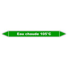 """Marqueur de Tuyauterie """"Eau chaude 105°C"""" en Vinyle Laminé"""