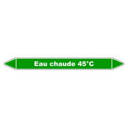 """Marqueur de Tuyauterie """"Eau chaude 45°C"""" en Vinyle Laminé"""