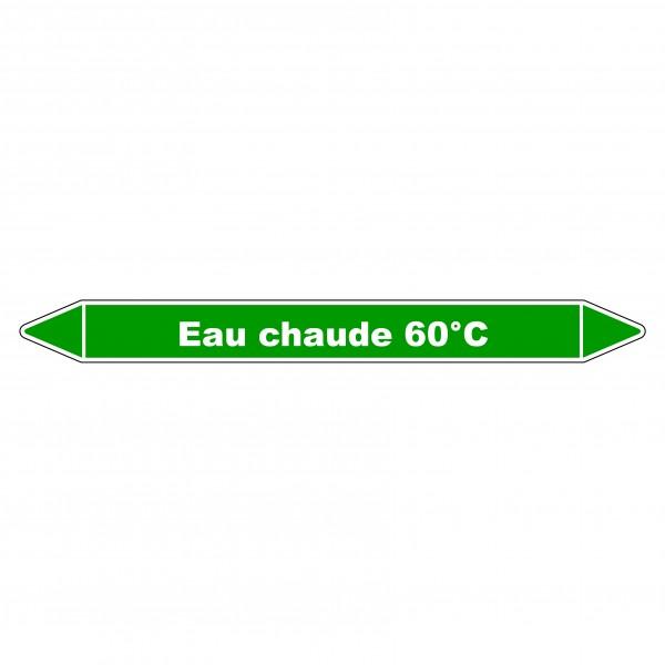 """Marqueur de Tuyauterie """"Eau chaude 60°C"""" en Vinyle Laminé"""