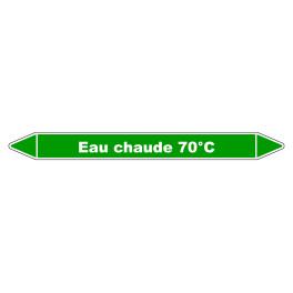 """Marqueur de Tuyauterie """"Eau chaude 70°C"""" en Vinyle Laminé"""