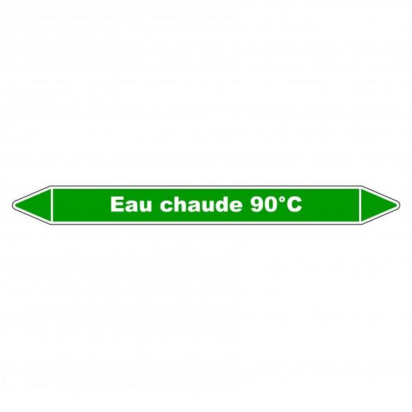"""Marqueur de Tuyauterie """"Eau chaude 90°C"""" en Vinyle Laminé"""