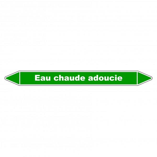 """Marqueur de Tuyauterie """"Eau chaude adoucie"""" en Vinyle Laminé"""
