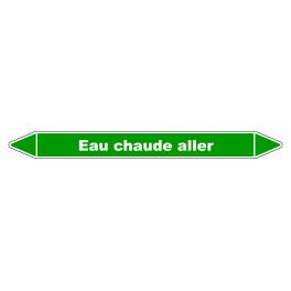 "Marqueur de Tuyauterie ""Eau chaude aller"" en Vinyle Laminé"