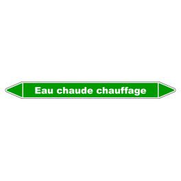 """Marqueur de Tuyauterie """"Eau chaude chauffage"""" en Vinyle Laminé"""