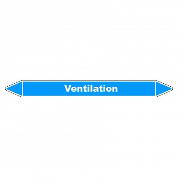 """Marqueur de Tuyauterie """"Ventilation primaire"""" en Vinyle Laminé"""
