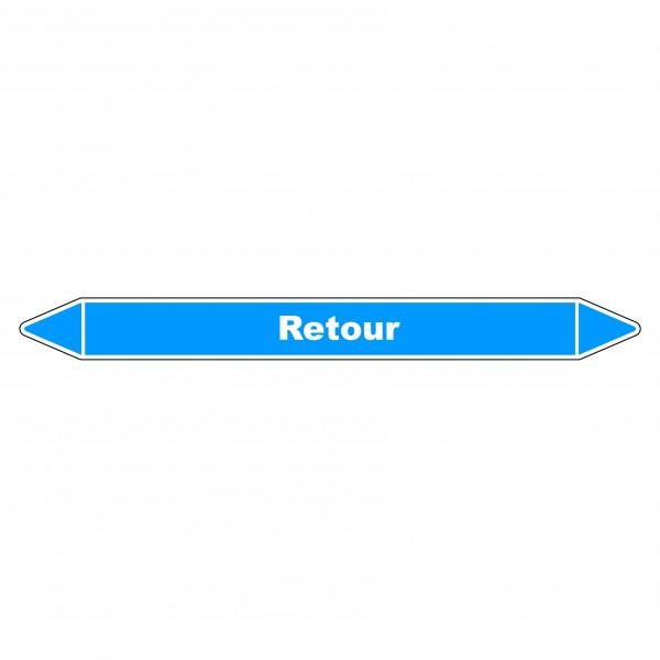 """Marqueur de Tuyauterie """"Retour"""" en Vinyle Laminé"""