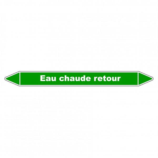 """Marqueur de Tuyauterie """"Eau chaude retour """" en Vinyle Laminé"""
