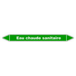 """Marqueur de Tuyauterie """"Eau chaude sanitaire"""" en Vinyle Laminé"""