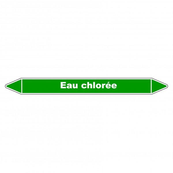 """Marqueur de Tuyauterie """"Eau chlorée"""" en Vinyle Laminé"""