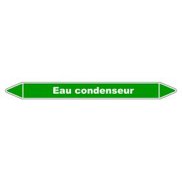 """Marqueur de Tuyauterie """"Eau condenseur"""" en Vinyle Laminé"""