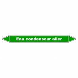 "Marqueur de Tuyauterie ""Eau condenseur aller"" en Vinyle Laminé"