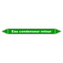 """Marqueur de Tuyauterie """"Eau condenseur retour"""" en Vinyle Laminé"""