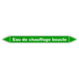 """Marqueur de Tuyauterie """"Eau de chauffage boucle"""" en Vinyle Laminé"""