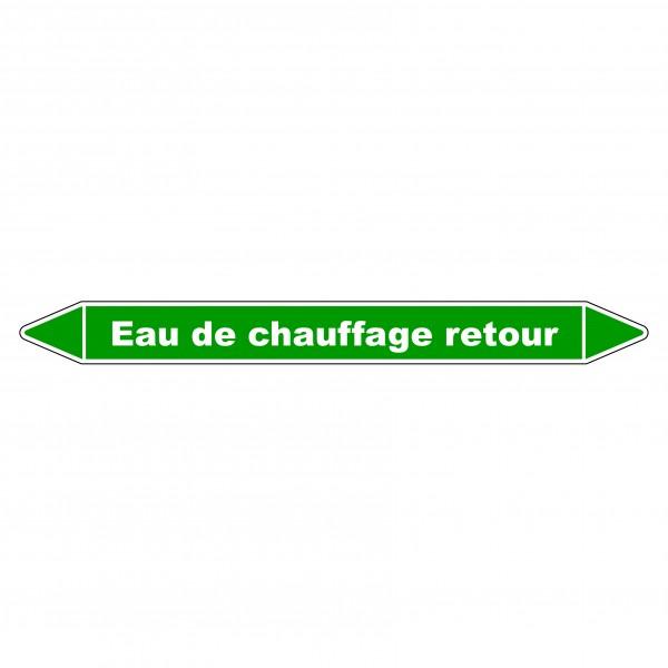 """Marqueur de Tuyauterie """"Eau de chauffage retour"""" en Vinyle Laminé"""