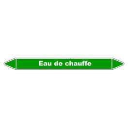 """Marqueur de Tuyauterie """"Eau de chauffe"""" en Vinyle Laminé"""