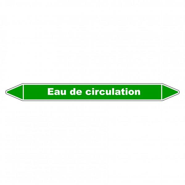 """Marqueur de Tuyauterie """"Eau de circulation"""" en Vinyle Laminé"""