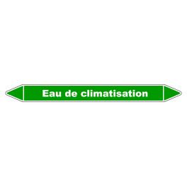 """Marqueur de Tuyauterie """"Eau de climatisation"""" en Vinyle Laminé"""