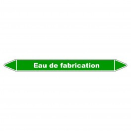"""Marqueur de Tuyauterie """"Eau de fabrication"""" en Vinyle Laminé"""