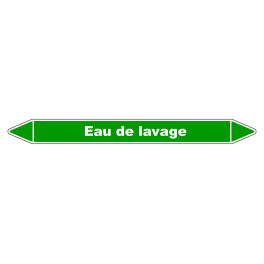 """Marqueur de Tuyauterie """"Eau de lavage"""" en Vinyle Laminé"""