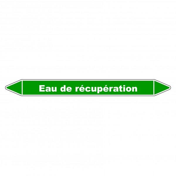 """Marqueur de Tuyauterie """"Eau de récupération"""" en Vinyle Laminé"""
