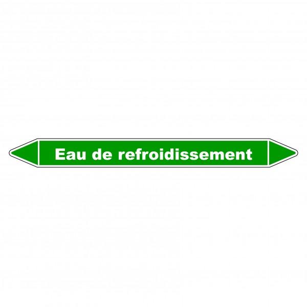 """Marqueur de Tuyauterie """"Eau de refroidissement"""" en Vinyle Laminé"""