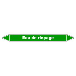 """Marqueur de Tuyauterie """"Eau de rinçage"""" en Vinyle Laminé"""