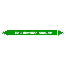 """Marqueur de Tuyauterie """"Eau distillée chaude"""" en Vinyle Laminé"""