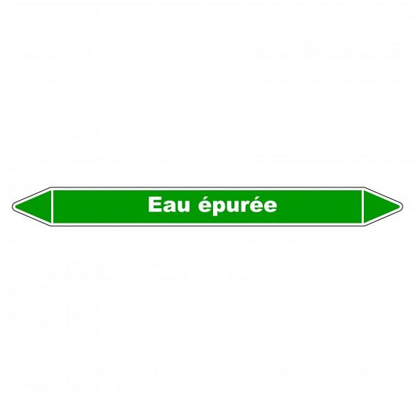 """Marqueur de Tuyauterie """"Eau épurée"""" en Vinyle Laminé"""