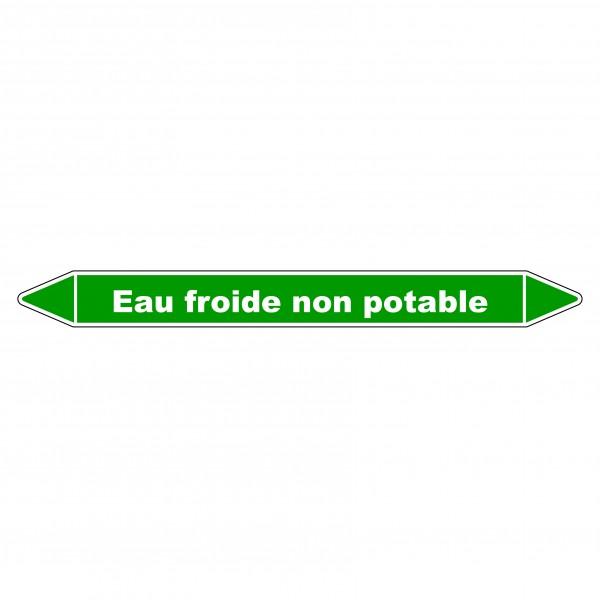 """Marqueur de Tuyauterie """"Eau froide non potable"""" en Vinyle Laminé"""
