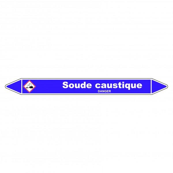 """Marqueur de Tuyauterie """"Soude caustique"""" en Vinyle Laminé"""