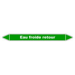"""Marqueur de Tuyauterie """"Eau froide retour"""" en Vinyle Laminé"""