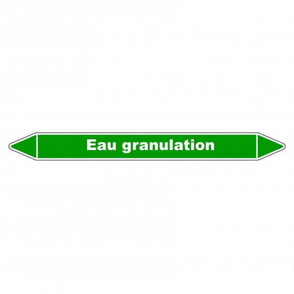 """Marqueur de Tuyauterie """"Eau Granulation"""" en Vinyle Laminé"""